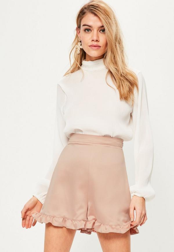 Pink Satin Back Crepe Frill Hem Shorts