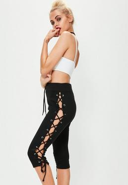 Black Eyelet Lace Up 3/4 Leg Joggers
