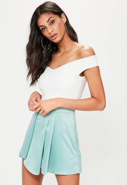 Blue Satin Wrap High Waisted Shorts