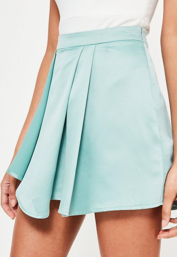 Blue Satin Wrap High Waisted Shorts | Missguided