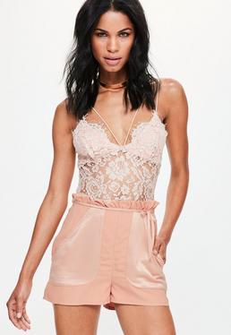 Pink Satin Pocket Paperbag Waist Shorts