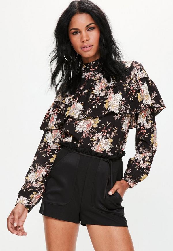 Black Satin Pocket Paperbag Waist Shorts