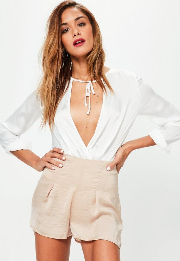 Nude Pleated Front Hammered Satin Shorts