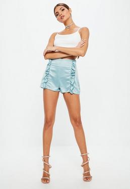Blue Satin Frill Centre Shorts