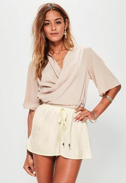 Cream Hammered Satin Back Crepe Runner Shorts