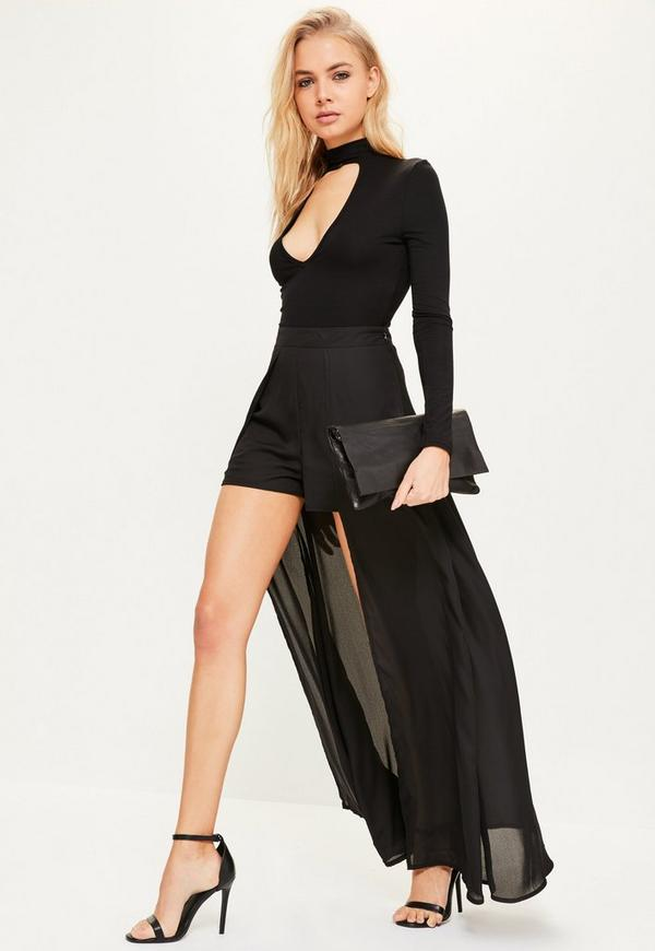 Black Chiffon Maxi Detail Shorts