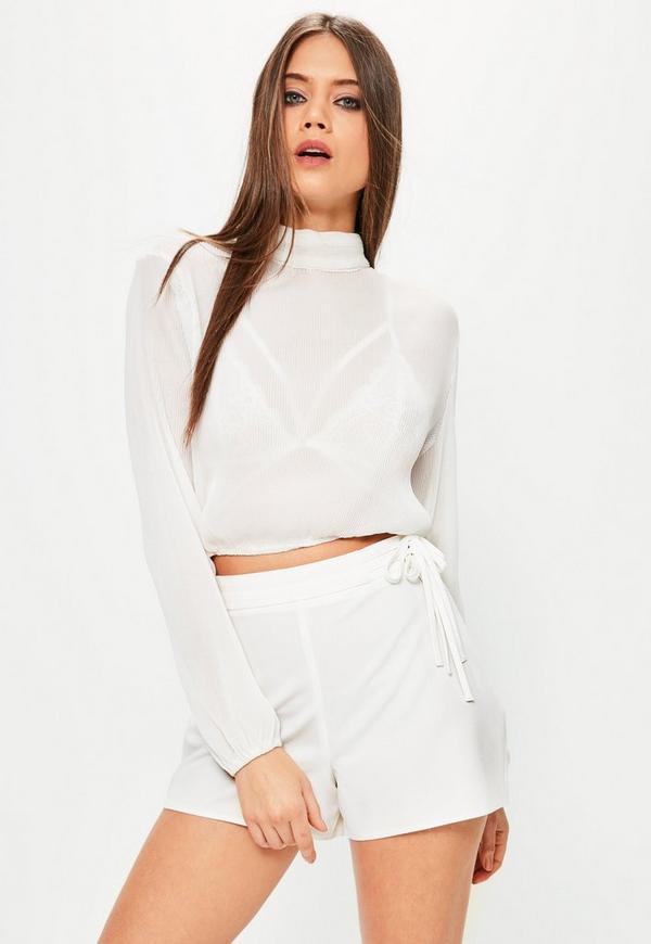 White Tie Waist Shorts