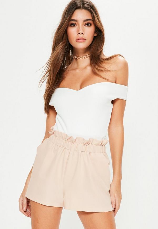 Nude Elasticated Paperbag Waist Shorts