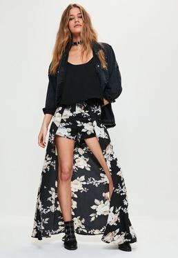 Black Floral Printed Chiffon Detail Maxi Shorts