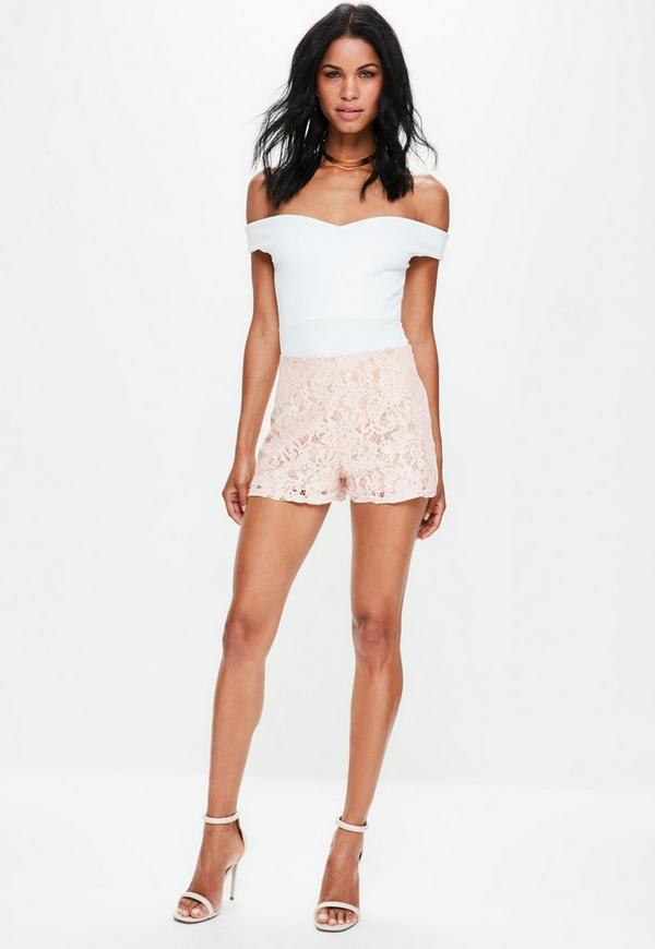 Premium Pink High Waisted Lace Shorts | Missguided