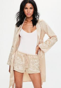 Nude Satin Embroidered Button Side Shorts