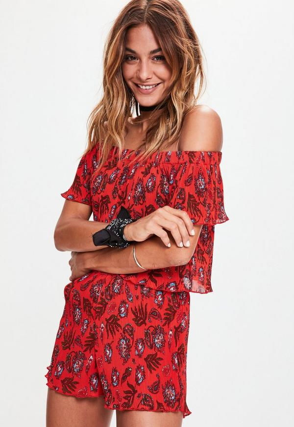 Red Paisley Printed Crinkle Runner Shorts