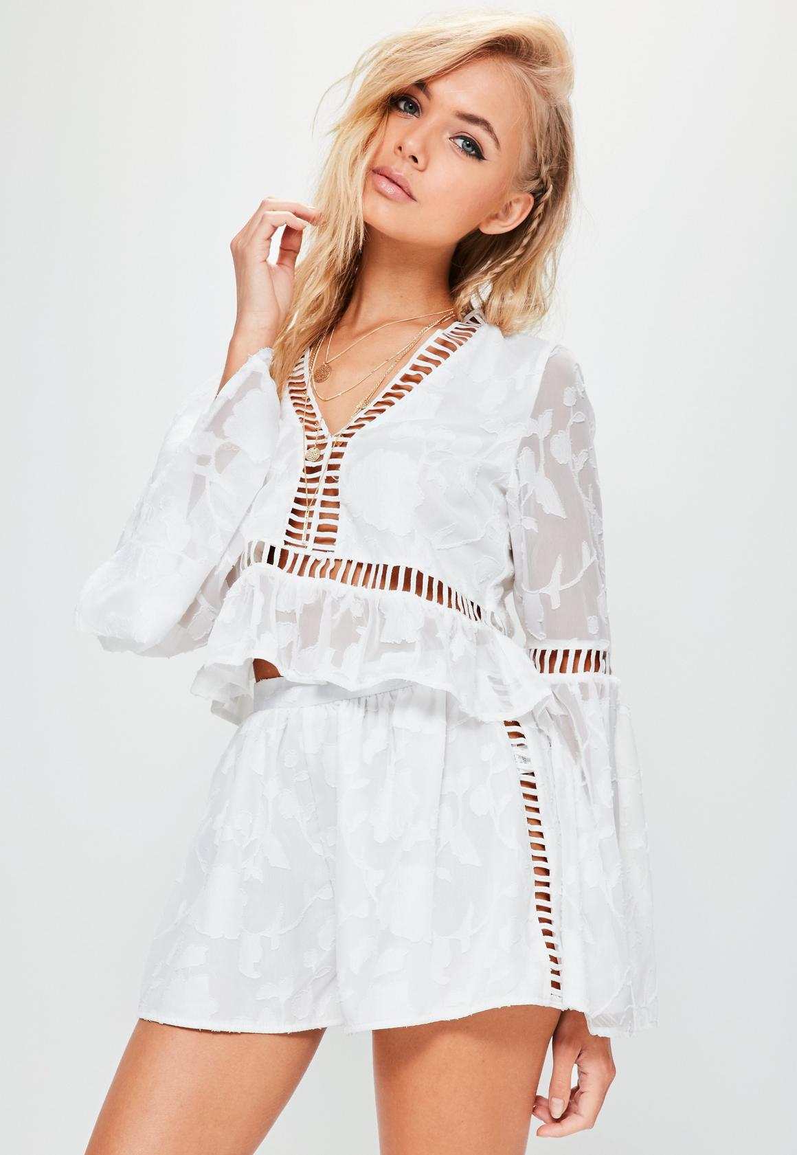 White Floral Jacquard Ladder Side Floaty Shorts | Missguided