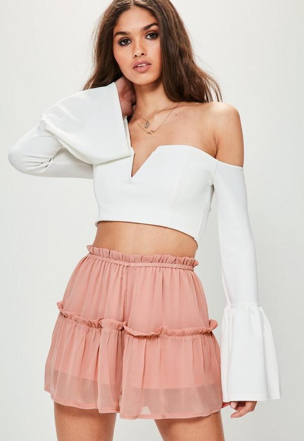 Pink Crinkle Chiffon Floaty Frill Shorts
