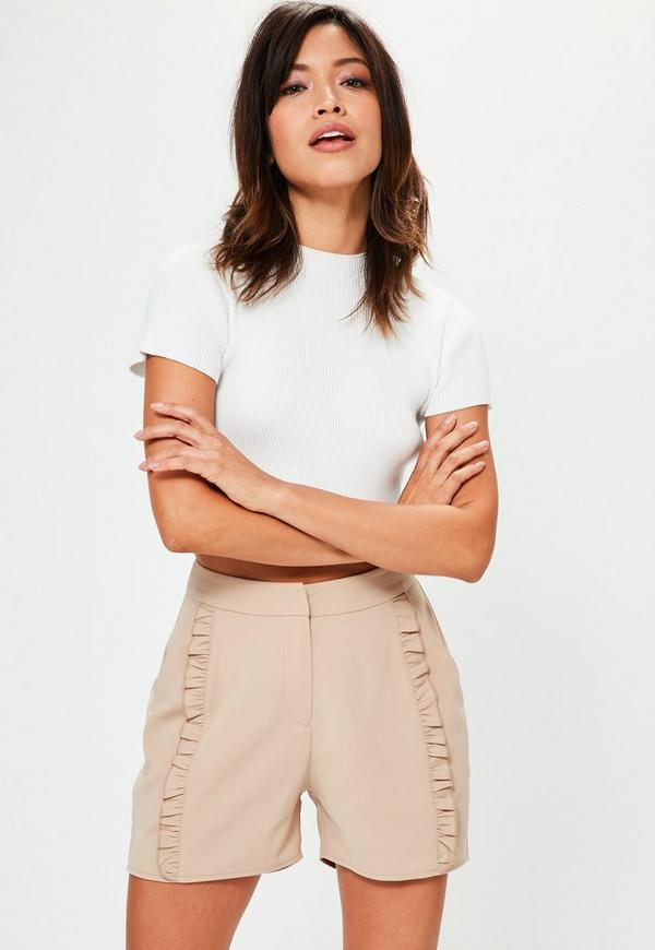 Nude Centre Frill Front Tailored Shorts