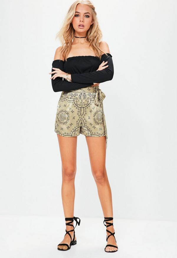 Gold Paisley Tie Detail High Waisted Shorts