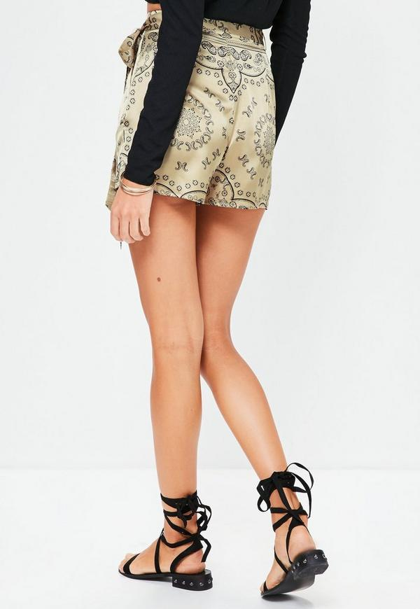 Gold Paisley Tie Detail High Waisted Shorts   Missguided