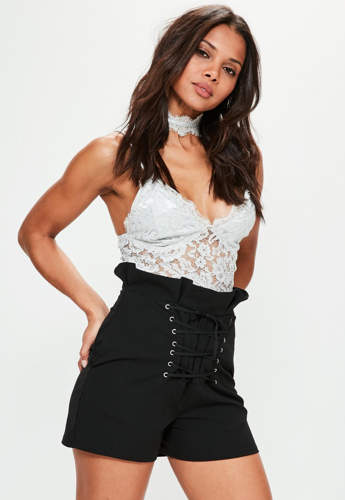 Black Super High Waisted Corset Detail Shorts | Missguided