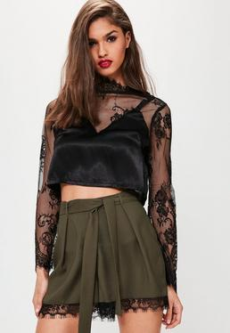 Khaki Satin Back Crepe Lace Hem Shorts
