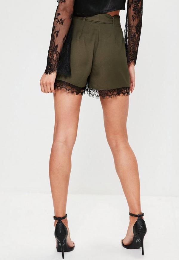 Khaki Satin Back Crepe Lace Hem Shorts | Missguided