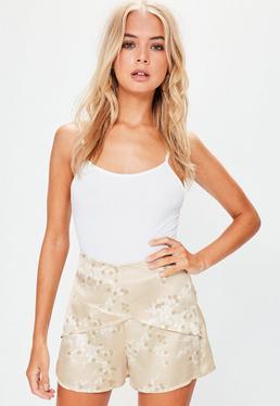 Gold Satin Blossom Print High Waisted Shorts