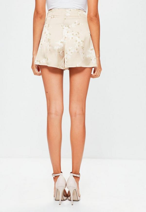 Gold Satin Blossom Print High Waisted Shorts | Missguided