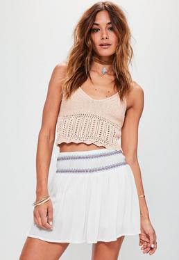 White Embroidered Waist Floaty Crepe Shorts