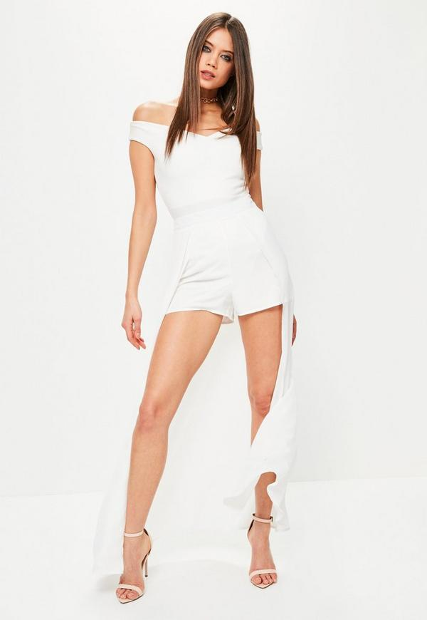 White Chiffon Detail Maxi Shorts