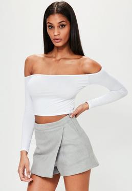 Falda pantalón de antelina gris