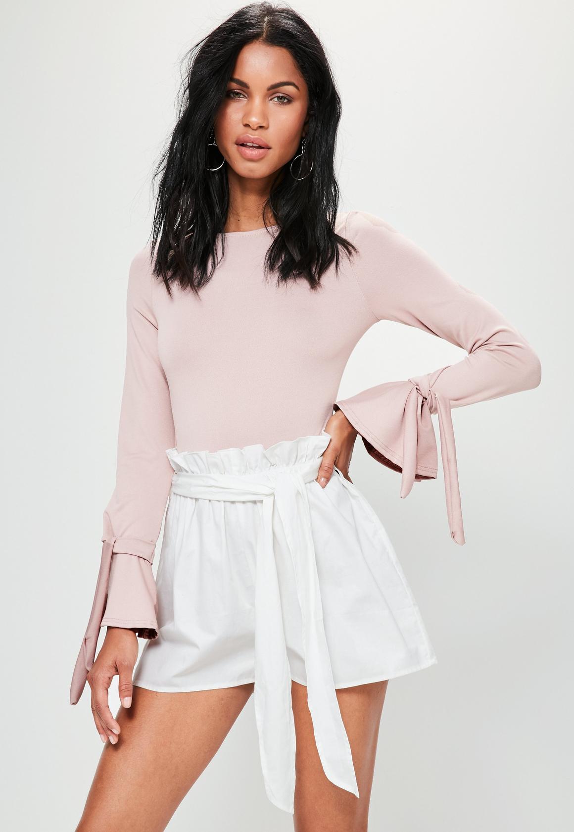 White Cotton Tie Waist Shorts | Missguided