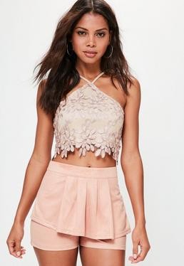 Pink Faux Suede Pleated Front Shorts