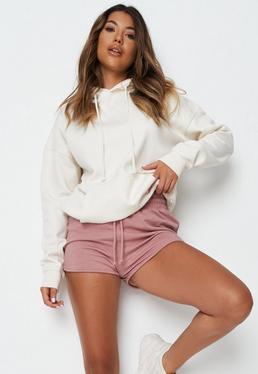 Pink Tie Waist Runner Shorts