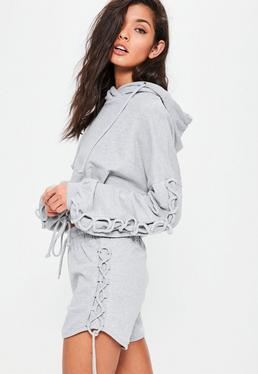 Grey Lace Up Side Jersey Runner Shorts