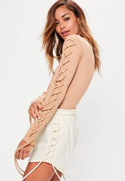 Cream Lace Up Side Jersey Runner Shorts