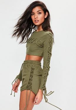 Jersey-Shorts mit Seiten-Schnürung in Khaki