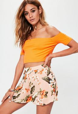 Nude Tropical Print Pleat Floaty Shorts