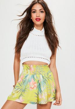 Yellow Floral Print Sheered Waist Shorts