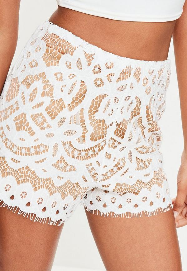 White High Waisted Lace Shorts | Missguided