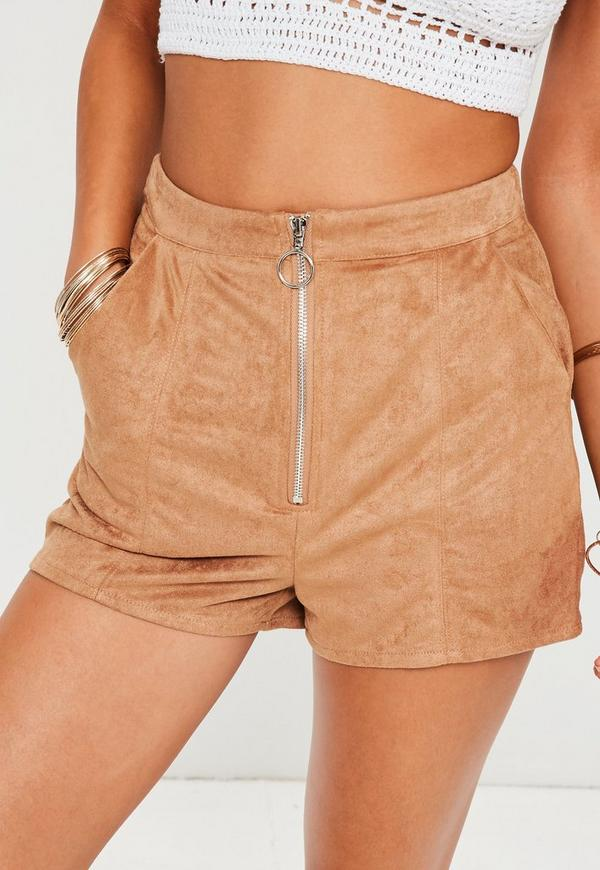 Tan Suede Zip Front High Waisted Shorts | Missguided
