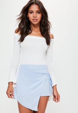 Blue Satin Tie Side Skort