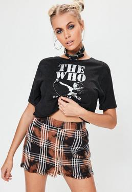 Black Tie Dye Checked Raw Hem Skort