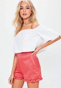 Red Satin Frill Hem Shorts