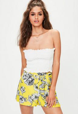Yellow Floral Print Tie Waist Shorts