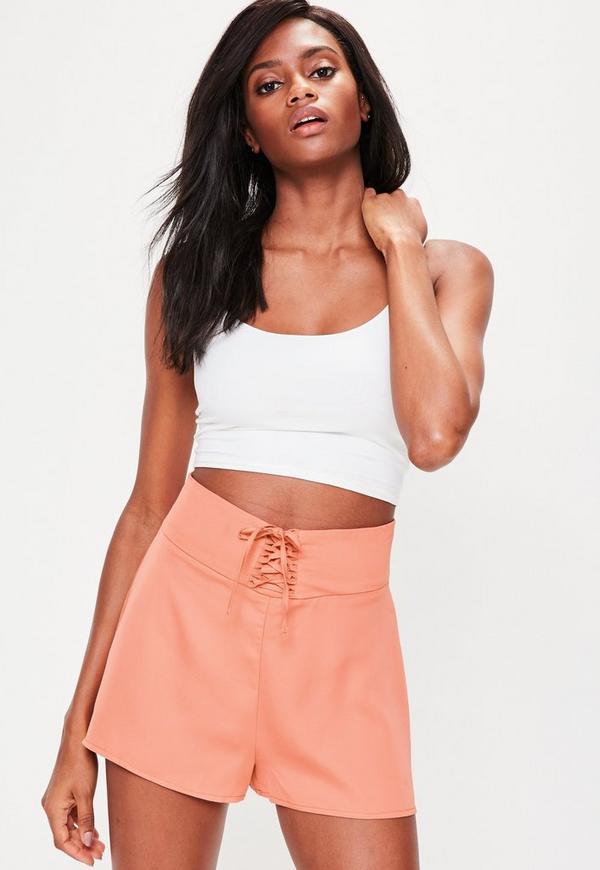 Orange Lace Up High Waisted Shorts