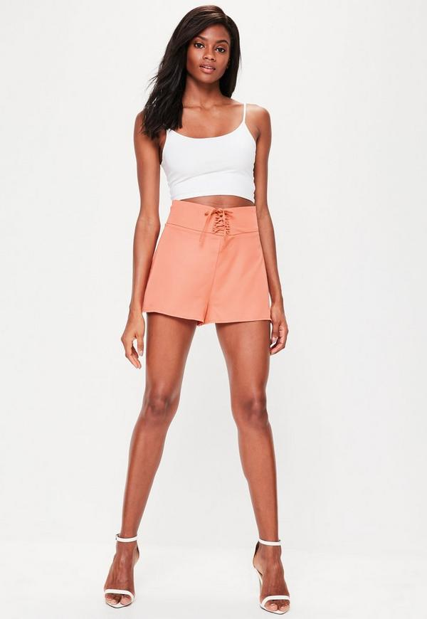 Orange Lace Up High Waisted Shorts | Missguided