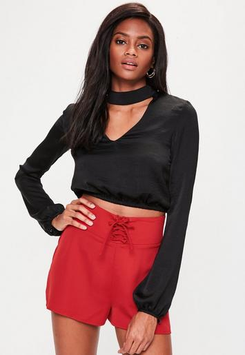 Red Lace Up High Waisted Shorts | Missguided