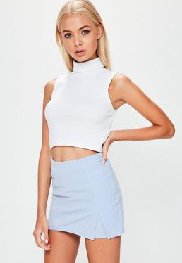Blue Stretch Crepe Split Front Skort