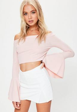 White Stretch Crepe Split Front Skort