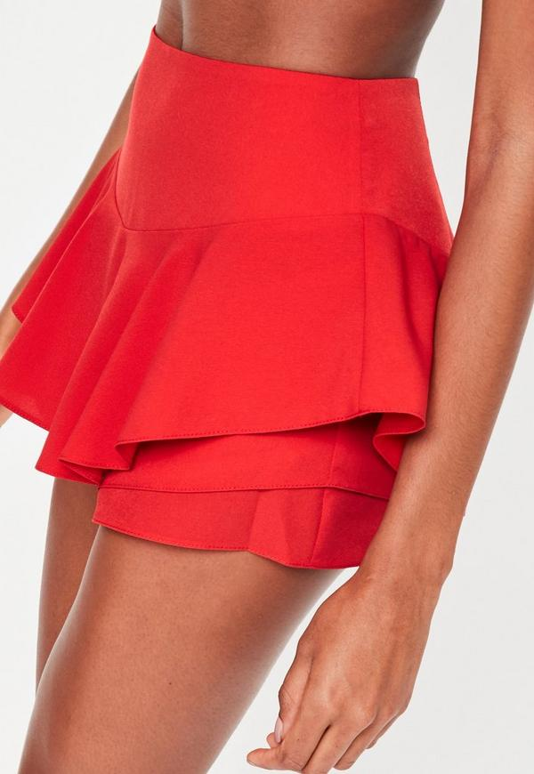 Red Full Frill High Waisted Shorts | Missguided