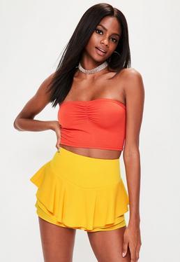 Yellow Full Frill High Waisted Shorts
